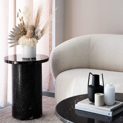 Curve Marble Side Table - Black Marble