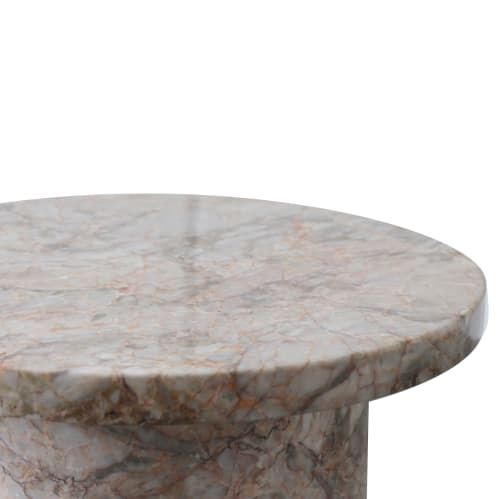Curve Marble Side Table - Rosa Marble