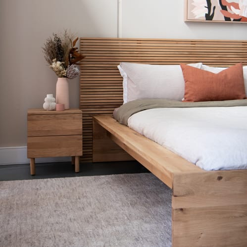 Linear King Bed Head - Oak