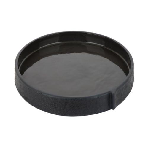 Burlap Round Tray Small - Black