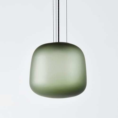 AB Large Pendant - Frosted Smoke Grey/Green