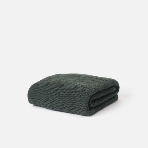 Purl Knit Wool Throw - Nori