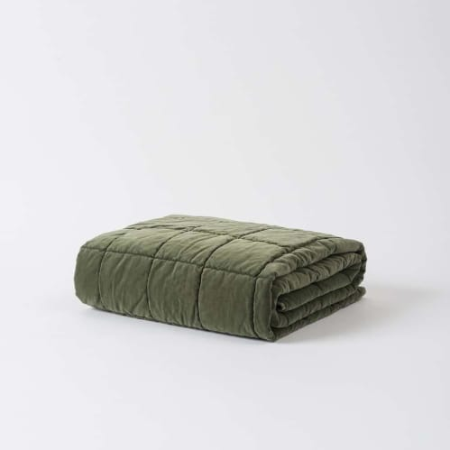 Washed Velvet Square Stitch Quilted Throw - Kale