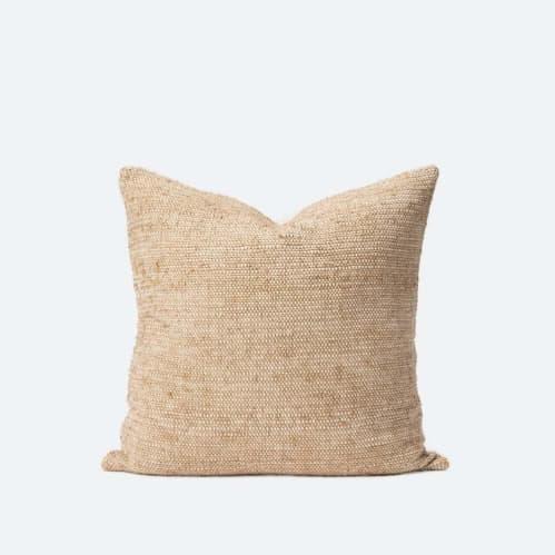 Freida Silk Blend Cushion - Tea/Natural