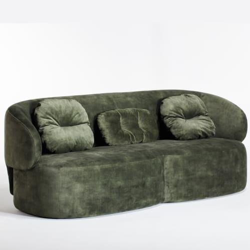 Long 3 Seater Sofa - Forest Green Velvet