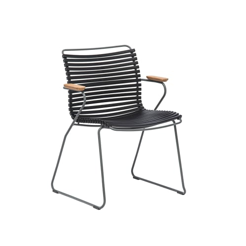 Click Outdoor Dining Chair W Armrest - Black