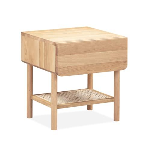 Surround Rattan Bedside Table - Oak