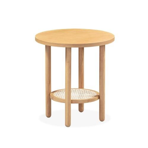 Radial Rattan Side Table - Oak