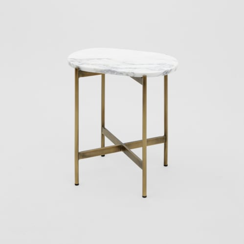 Rhonde Marble Side Table - Brass