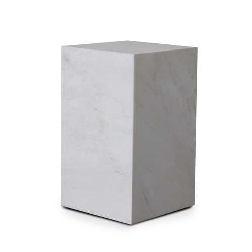 Stage Marble Side Table Tall - White Marble