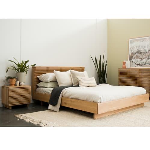 Linear Queen Bed - Oak