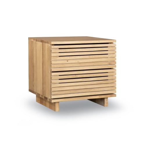 Linear Bedside Table - Oak