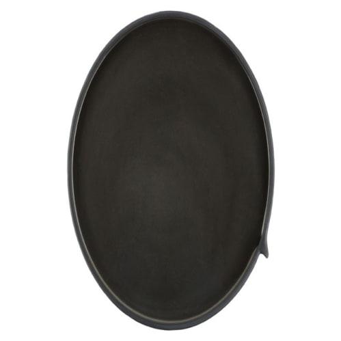 Burlap Round Tray Large - Black