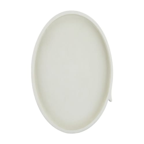Burlap Round Tray Small - White