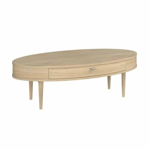 Sadie Oval Coffee Table with Drawers - Washed Oak