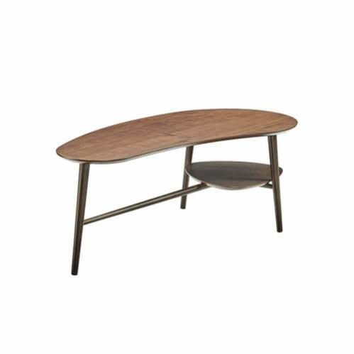 Sadie Oblong Coffee Table with Shelf - Dark Walnut