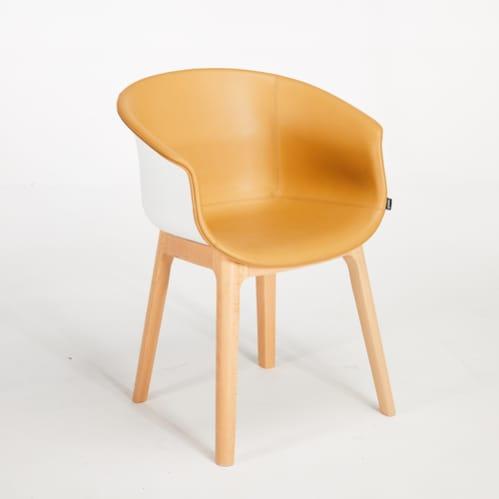Queen Dining Chair - Pu / White / Beech