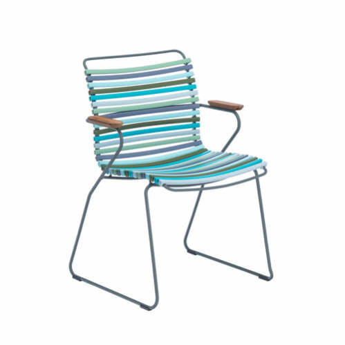 Click Outdoor Dining Chair W Armrest -  Multi-Colour Blue