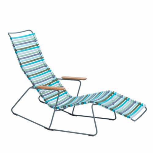 Click Outdoor Sun Lounge - Multi-colour Blue Stripe