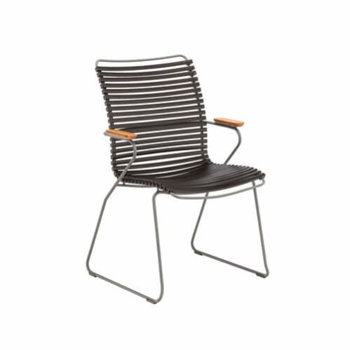 Click Outdoor Tall Dining Chair W Armrest - Black