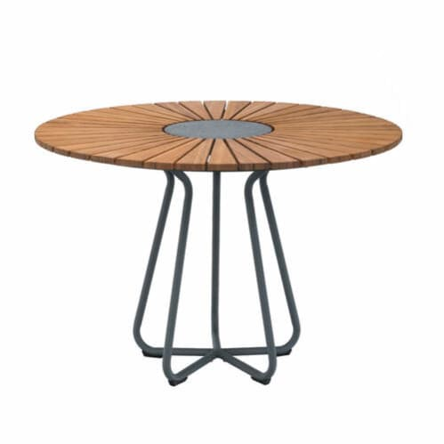 Circle Outdoor Dining Table 110cm - Bamboo/Grey