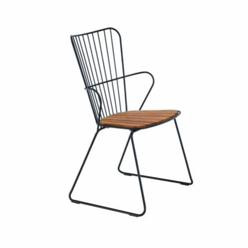 Paon Outdoor Dining Chair - Bamboo/Black