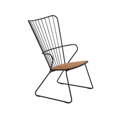 Paon Outdoor Lounge Chair - Bamboo/Black