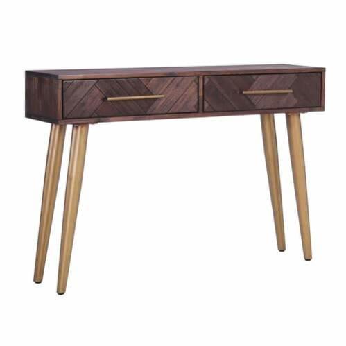 Olinda Console Table - Acacia/Gold