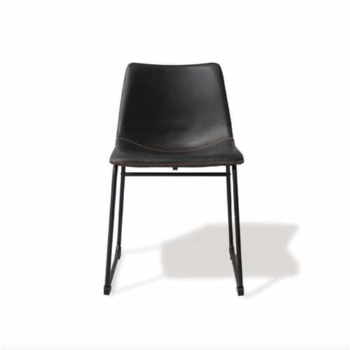 SET OF 2 - Ambrose Bonded Contemporary Dining Chairs / Vintage Black