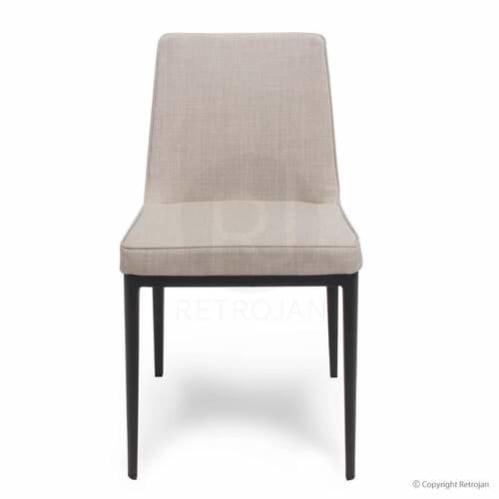 Florence Upholstered Designer Dining Chair / Mushroom with Black Leg