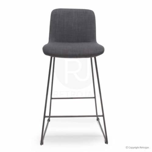 Beau Upholstered Contemporary Barstool / Dark Grey
