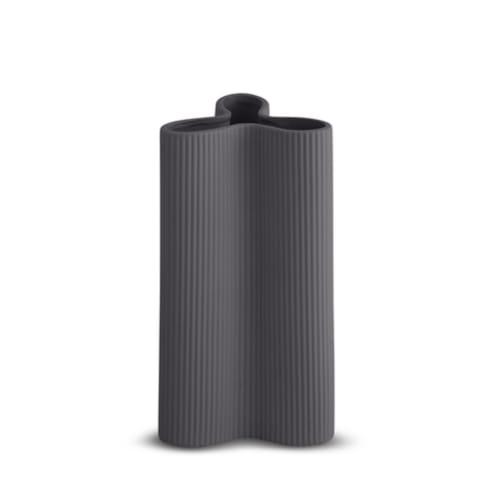 Ribbed Petal Vase Large - Charcoal