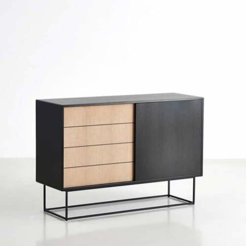 Virka High Sideboard - Black/Oak