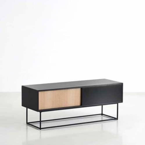 Virka Low Sideboard - Black/Oak