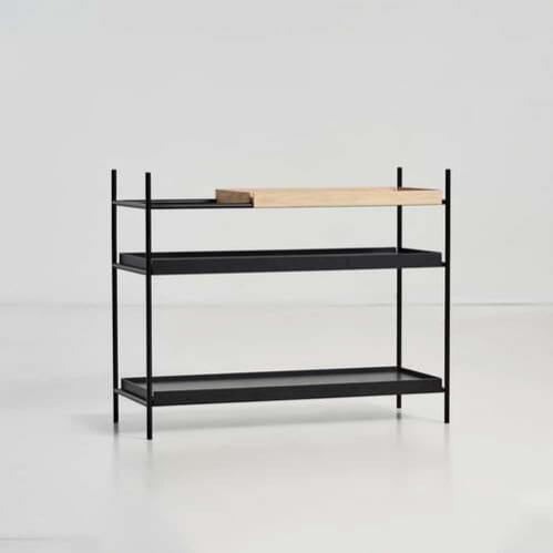 Tray shelf Low - Oak & Black