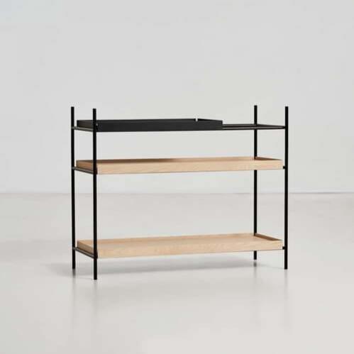 Tray shelf Low - Black & Oak