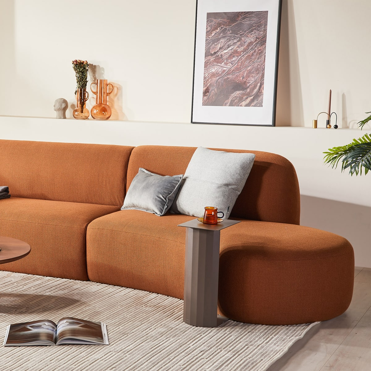 Swell Chaise Sofa - Terracotta
