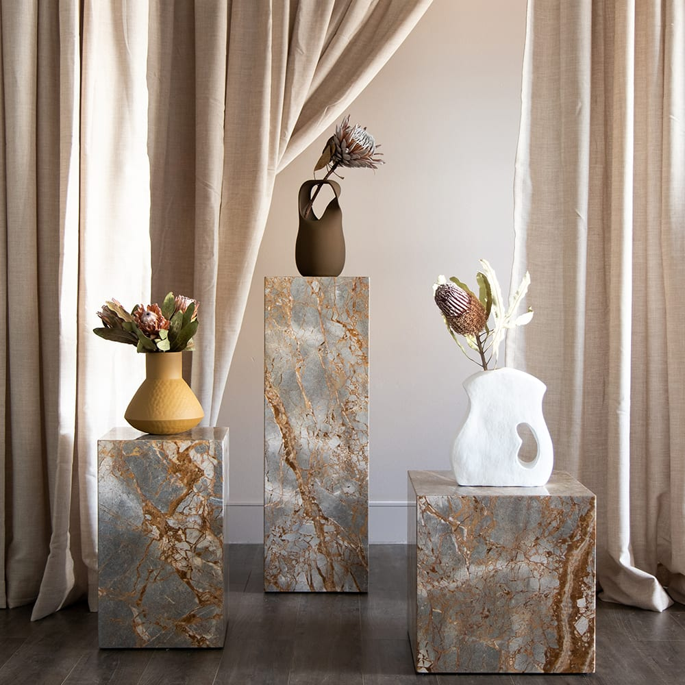 Stage Marble Side Table Low - Earth Marble