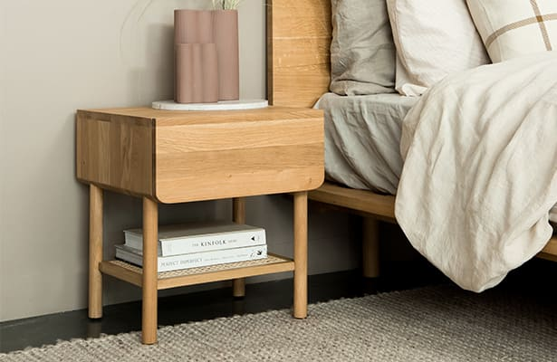 Surround Rattan Bedside Table - Oak - Natural Perfection