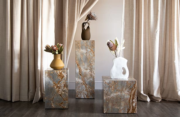 Stage Marble Side Table Tall - Earth Marble - One of a Kind