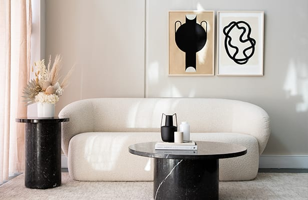 Curve Marble Side Table - Black Marble - One of a Kind