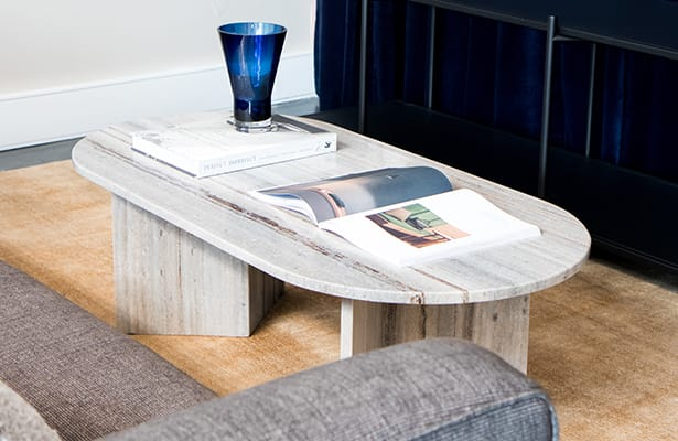 Edge Oval Coffee Table - Sand Granite - A stunning contrast