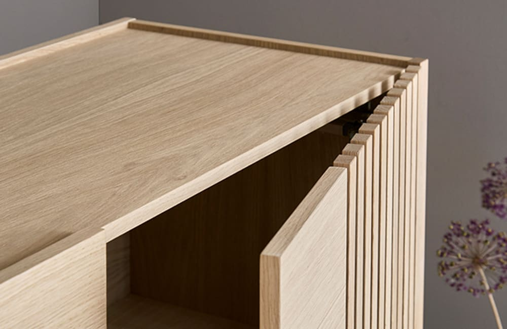 Array Low Sideboard - Oak/Black - <p>Stowed Away</p>