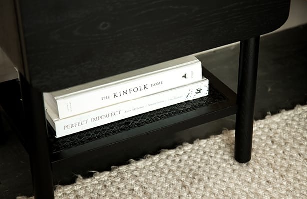 Surround Rattan Bedside Table - Black - One of a Kind