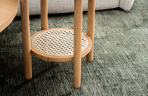 Radial Rattan Side Table - Oak - One of a Kind