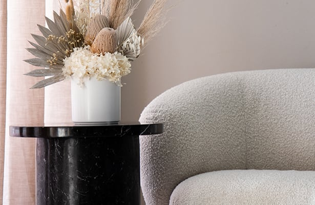 Curve Marble Side Table - Black Marble - A Sleek Vibe