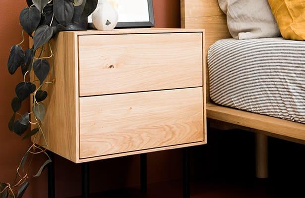Essence Bedside Table - Oak - One of a Kind