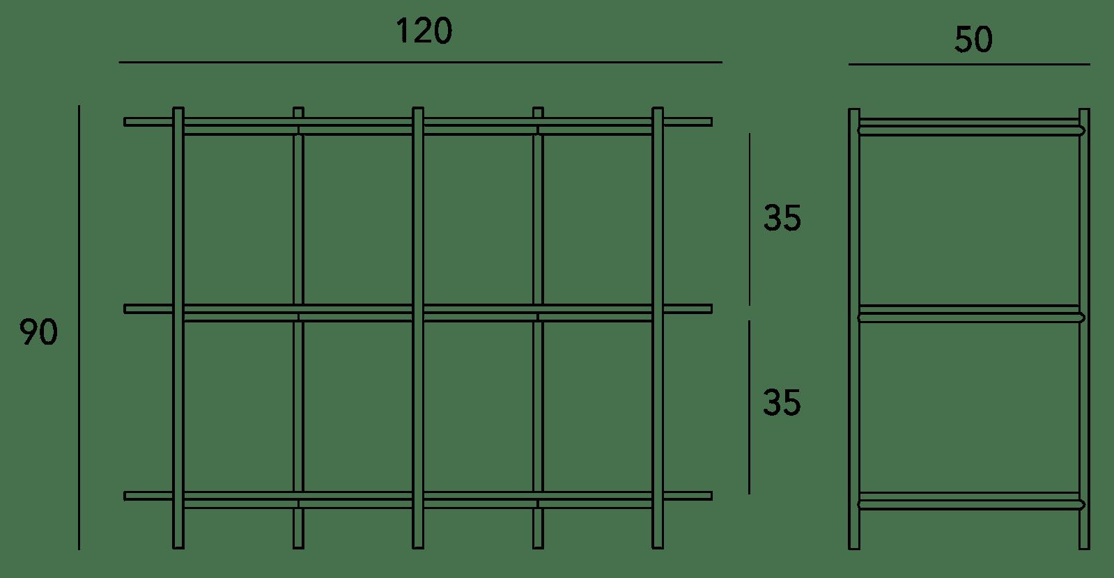 specifications - Cross Shelving Unit Medium - Warm Beige
