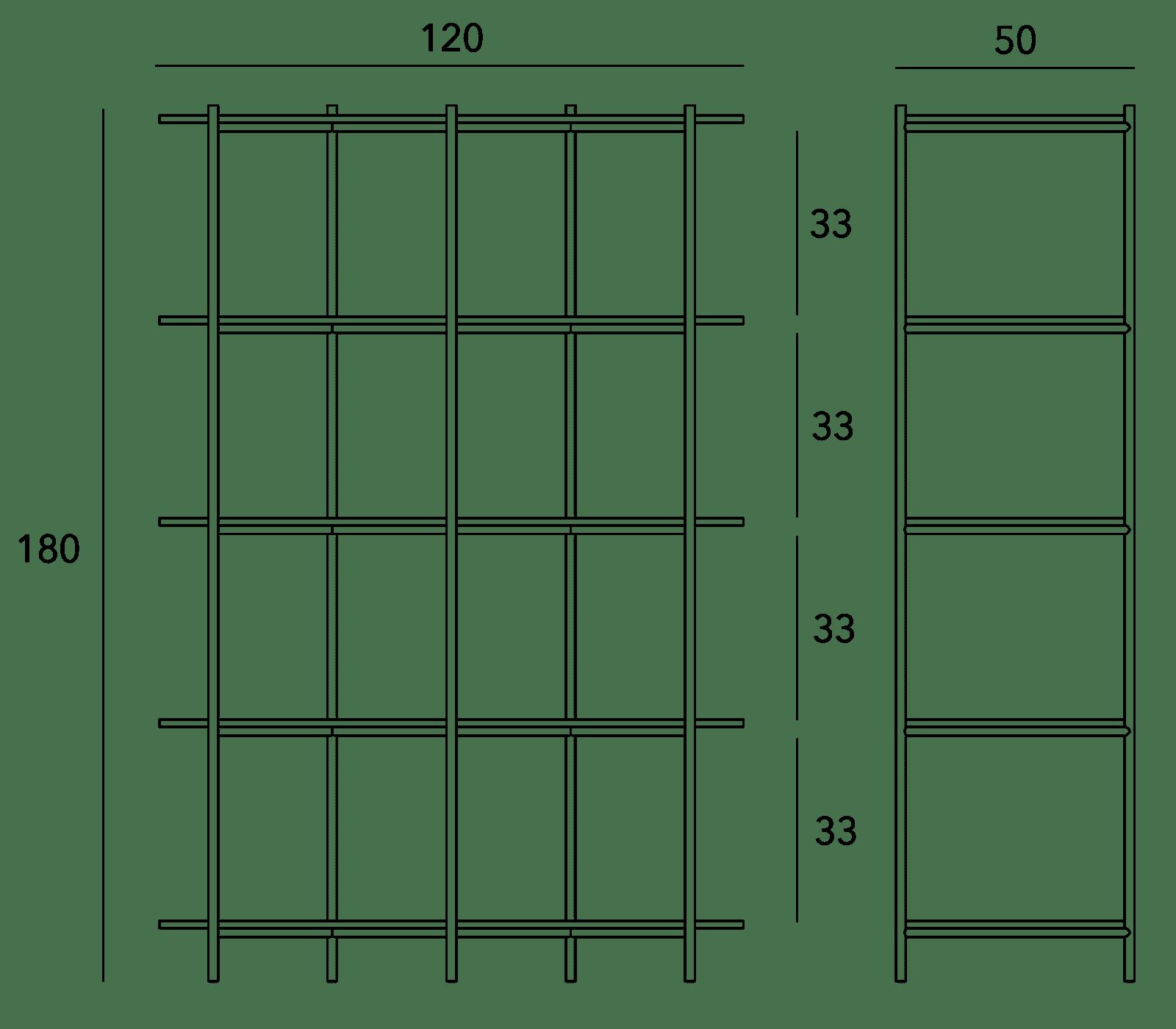 specifications - Cross Shelving Unit Tall - Warm Beige
