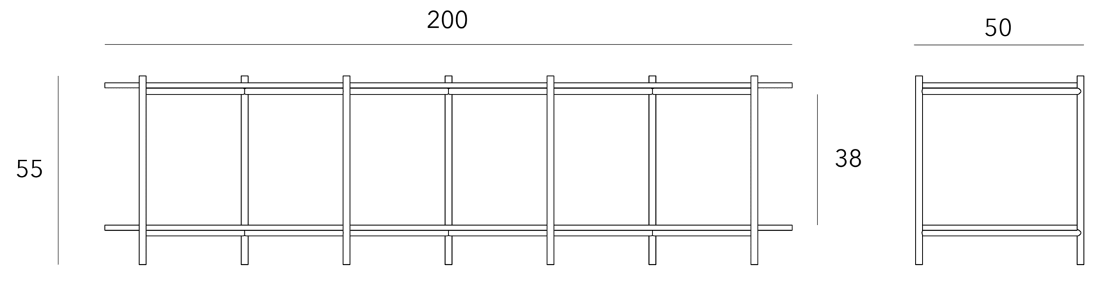specifications - Cross Shelving Unit Low - Black